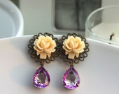 A Ivory Rose, Vintage Soft Lilac Two Tone Purple Pear Glass Jewels Earrings.  Bridesmaids Gifts. Maid of Honor.