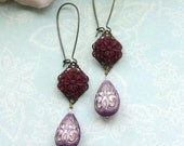 Maroon Red Floral Bouquet, Light Purple Violet Gold Inlaid Ornate Lucite Beads Earrings. Maid of Honor. Bridesmaid Gifts.