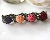 Special Sale - An Autumn Flower Garden Party.  Mix of colorful Flowers on Antiqued Bronze Filigree Rings. Bridesmaid Gift. Set of 4 rings.