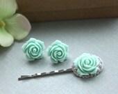 A Set of Mint Green Flower Bobby Hair Pin, Mint Flower Ear Post Earrings. Bridesmaid Gifts. For Teen Girls.