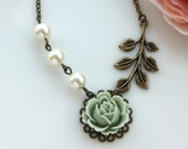 A Green Rose Flower, Ivory Pearl, Leaf Antiqued Brass Necklace. For Bridal. Wedding Gifts. Bridesmaids Gifts. Gift for Mom. Maid of Honor.