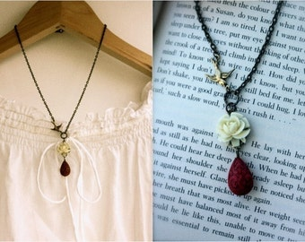 A Creamy Ivory Rose Cabochon, Flying Swallow, Red Ornate Bead Necklace. Lovely Gift.  For Daughter. For Sister. Romantic. Feminine