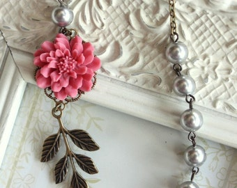 Rose Pink Chrysanthemum Dahlia Flower Necklace. Brass Leaf, Silver Grey Pearls. Antiqued Brass Necklace. Bridesmaids Gift. Country Wedding