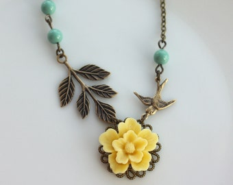 A Yellow Sakura Flower, Flying Swallow Bird, Leaf Branch with Green Pearls Necklace. Bridesmaids Gift Ideas. Maid of Honor.  For Sister.