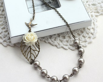 An Ivory Rose Flower, Leaf, Flying Swallow Bird, Platinum, Dark Grey Pearl Necklace. Vintage Bride. Bridesmaid Necklace. Wedding Gifts.