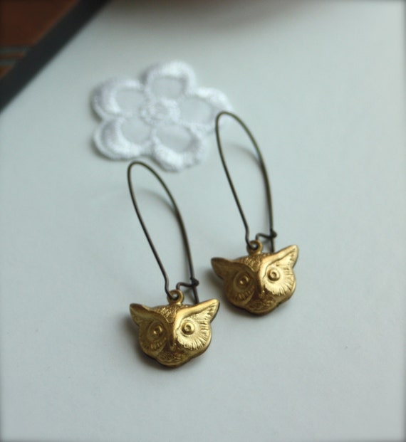 Twin Owls - Brass Earrings