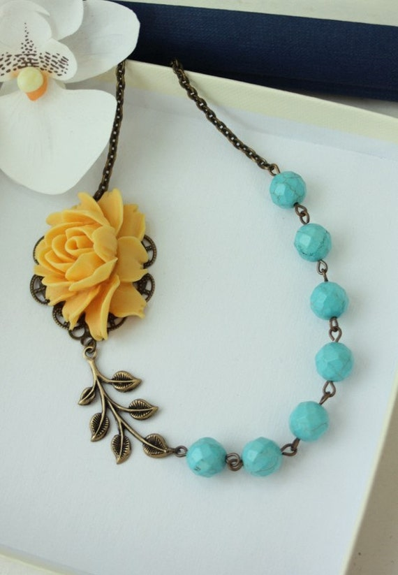 A Ray of Sunshine & Blue Skies - A Large Bright Orangey Yellow Rose Flower, Blue Howlite Gemstone Necklace. Summer. For Her. Maid of Honor.
