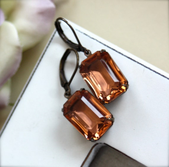 Estate Style Jewel Glamour. A Vintage Rhinestone Faceted Peach Orange Octagon Glass Jewel Earrings.  Maid of Honor. For Mom.