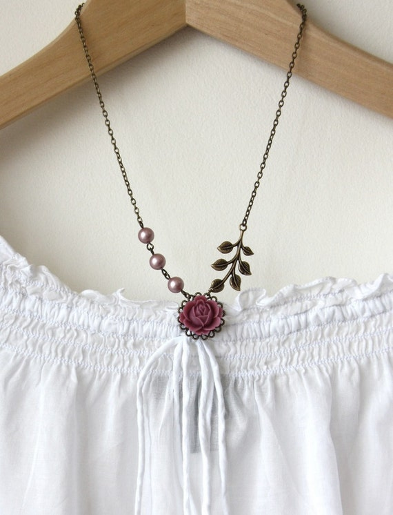 A Matte Pink Woodland Flower Necklace.  Great Gift.  Sweet and Feminine.