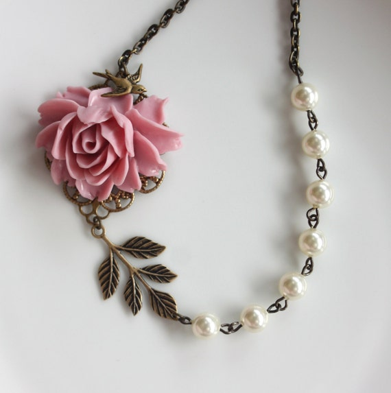 Wedding Jewelry Bridesmaid Necklace. A Pink Rose Flower, Ivory Swarovski Pearls, Swallow Bird Necklace.