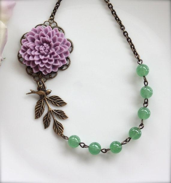 A Light Purple Chrysanthemum Flower, Green Aventurine Gemstone, Oxidized Brass Leaf, Flying Swallow Bird Necklace. Bridesmaid Gift Ideas.