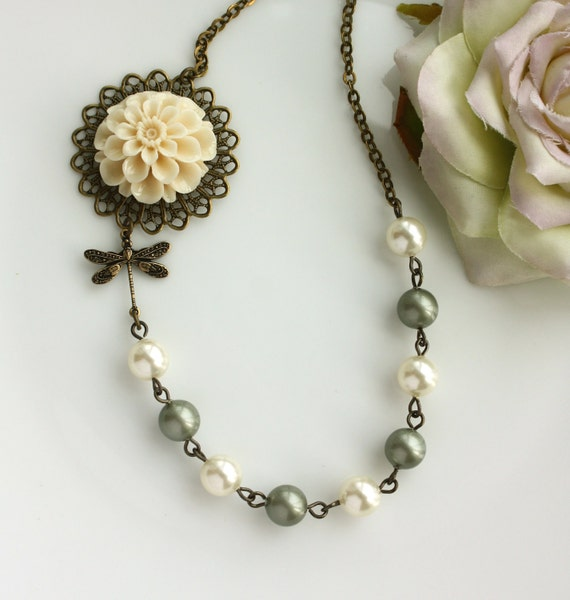 A Dragonfly's Whisper - An Ivory Cream Mum Dahlia Flower, Dragonfly,  Swarovski Ivory and Matte Soft Green Glass Pearl Necklace. For Mom.