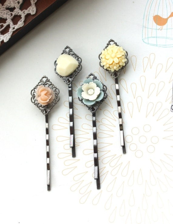 Floral Wonderland No. 5 - Four (4) Gunmetal Bobby Hair Pins. Bridesmaid Hairpins. Bridesmaids Gifts. For Sister. For Daughter. For Her.
