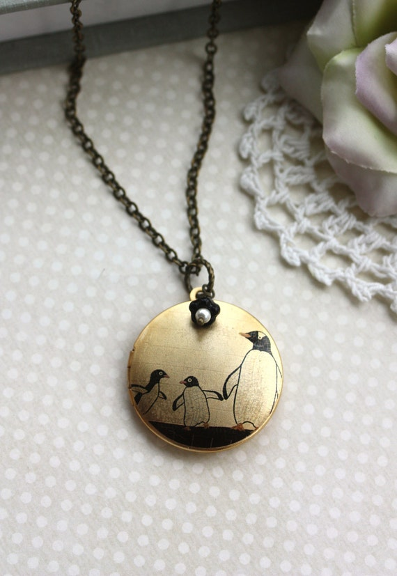An Altered Art Locket of Family of Penguins - USA Handmade Image Photo Brass Locket Necklace.  Unqiue.
