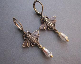 Bee Earrings - Brass Bee Earrings - Antique Brass Bee - Crystal - Romantic  Brass Earrings - Victorian - Vintage Inspired - Bee Lover Gift