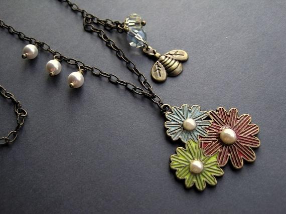 SALE - Antique Brass Enameled Flower Trio and Bee Necklace -Summertime Splendor