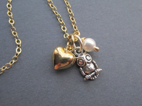 Sterling Silver Owl Gold Vermeil Heart Pearl Necklace - I Love Owls Trio Charm Necklace - Autumn Necklace
