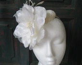Lacy Cocktail Hat Ivory Flower with Feathers