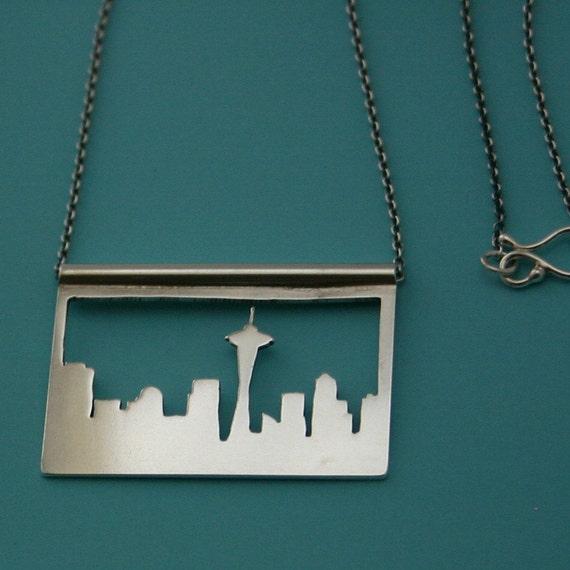 Custom order for kimpetersen82: Seattle skyline necklace