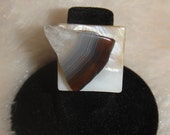Antiqued Silver Brown Agate Slice Ring