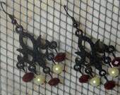 Black Metal & Red Velvet Quartz Chandelier Earrings