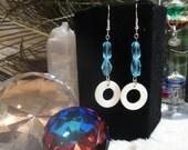 Teal Glass & Shell Earrings