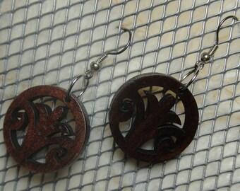 Swirled Fleur De Lis Laser Cut Wood Earrings