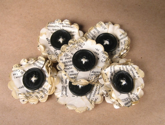 Vintage Dictionary Flowers with Big Black Buttons - My Little Birdie