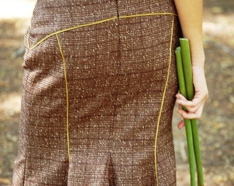 Blended Wool Bemused Retro Knee-Length Skirt