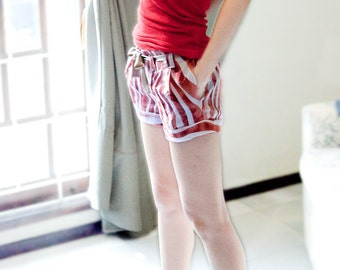 Folded Hem Promenade Shorts W/Triple Front Pleats in Printed Cotton