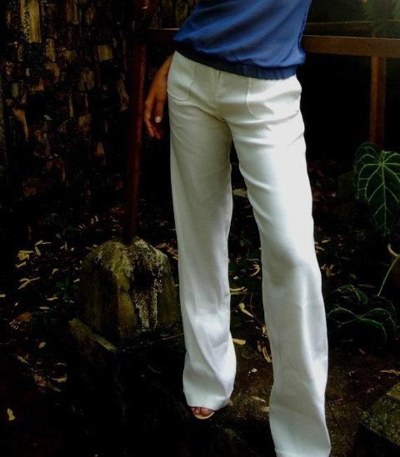 Stretch Cotton Linen Wide-Legged Pants w/Folded Hem