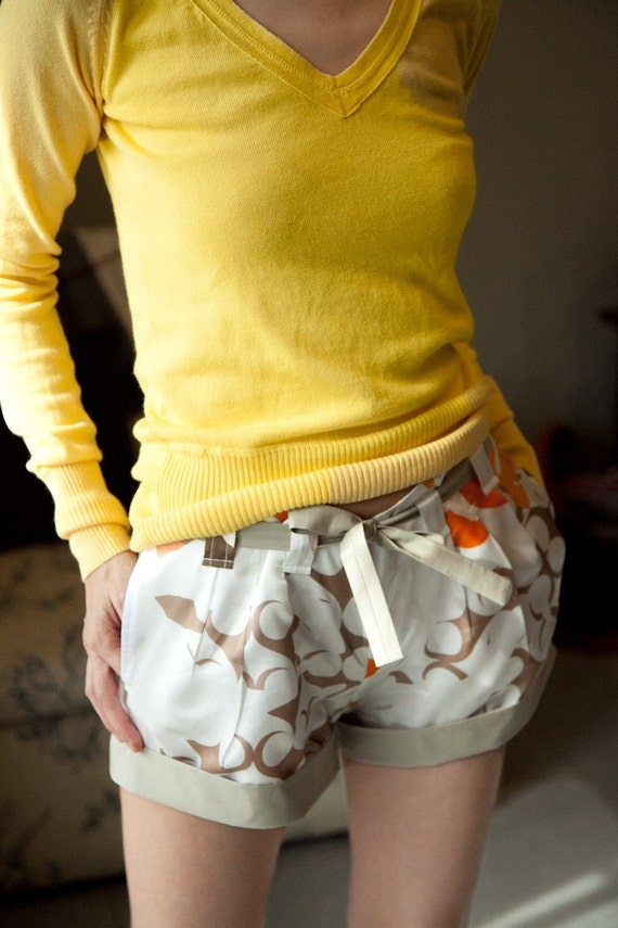 Folded Hem Promenade Shorts W/Triple Front Pleats