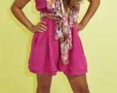 Pink Retro Ruffled High Waisted Romper One Peice Shorts Onesie Women Jumper