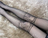 Faux Knee High Design Fishnets Tights Legings