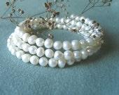Bracelet - Baroque Pearls - White - Wedding Bridal - Classic