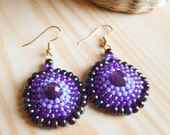 DISCOUNTS - The Mayan Feeling  - Earrings with Faceted Amethyst Beads - OOAK
