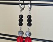 Long Glass and Jasper Beaded Earrings - Twilight Inspired - Black Gray Red - The Last Pair