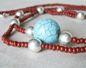 Brown Necklace with Turquoise Focal Bead - Limited Edition