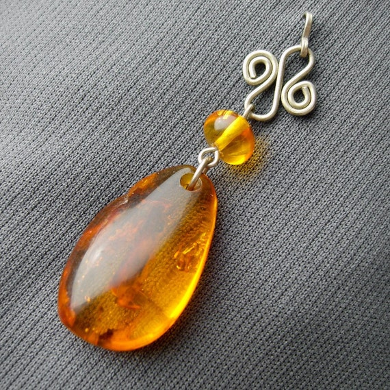 Vintage Artisan Made Amber Pin Brooch - Only One