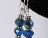 Earrings - Bright Blue Czech Glass - Faceted Rondelle - Sterling Silver