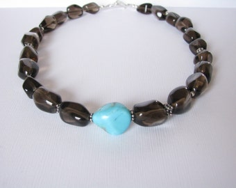 Necklace - Smokey Quartz - Turquoise - Sterling Silver