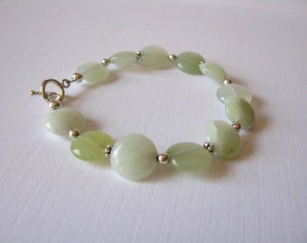 New Jade Bracelet with Sterling Silver