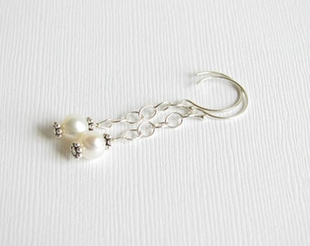Earrings - White Freshwater Pearls - Sterling Silver