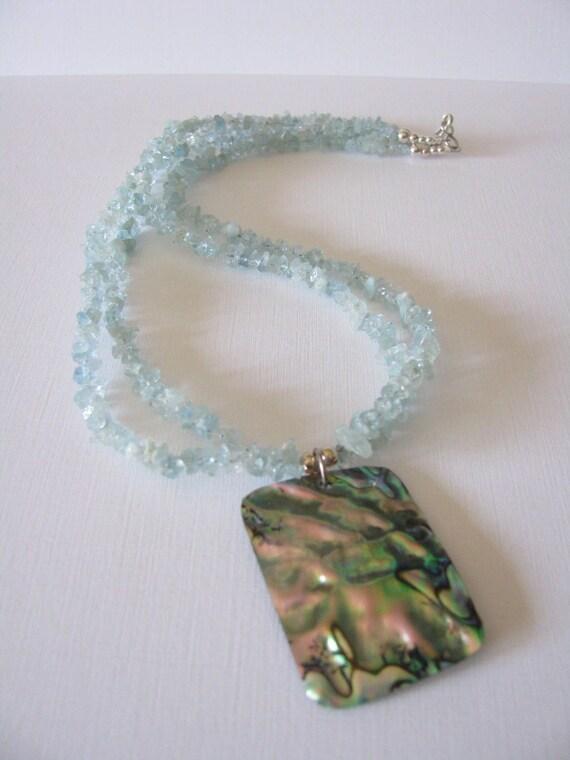 Necklace - Aquamarine - Abalone Pendant - Sterling Silver - 2-Strand