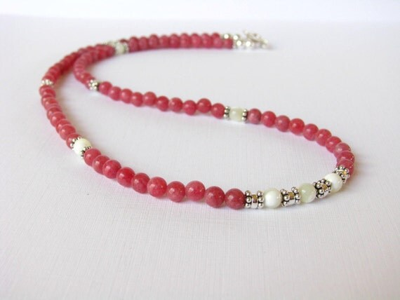 Necklace - Rhodochrosite - Mother of Pearl - Sterling Silver