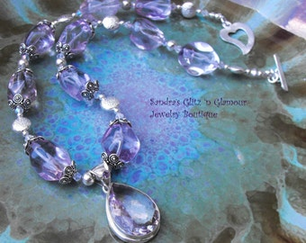 Amethyst Gemstone Chunky Sterling Silver Necklace