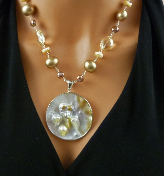 Blister Pearl, Chocolate Pearl and Citrine Gemstone Necklace Set with FREE SHIPPING