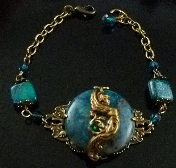 Handmade Goddess Hera Ocean Jasper Bracelet in Antique Gold Brass - FREE U.S. SHIPPING
