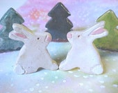 Kissing Easter Bunny Rabbit PAIR Figurines Pink Ears Nose White Tail Clay Mini