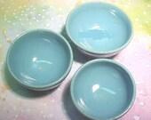 PlayScale Nesting Bowl Set of 3 SALE Aqua Turquoise Miniature Pottery Wheelthrown